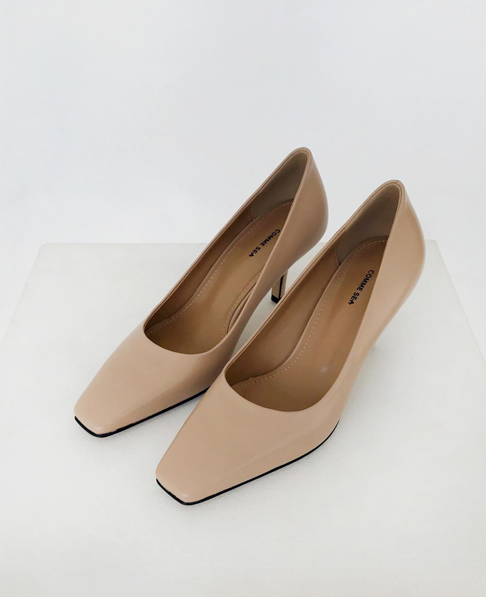 Classic Square Toe Pumps - BEIGE (25% OFF)