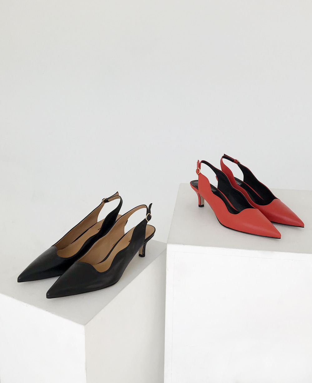 Haze Daze Sling backs - BLACK / BRICK RED (5cm)