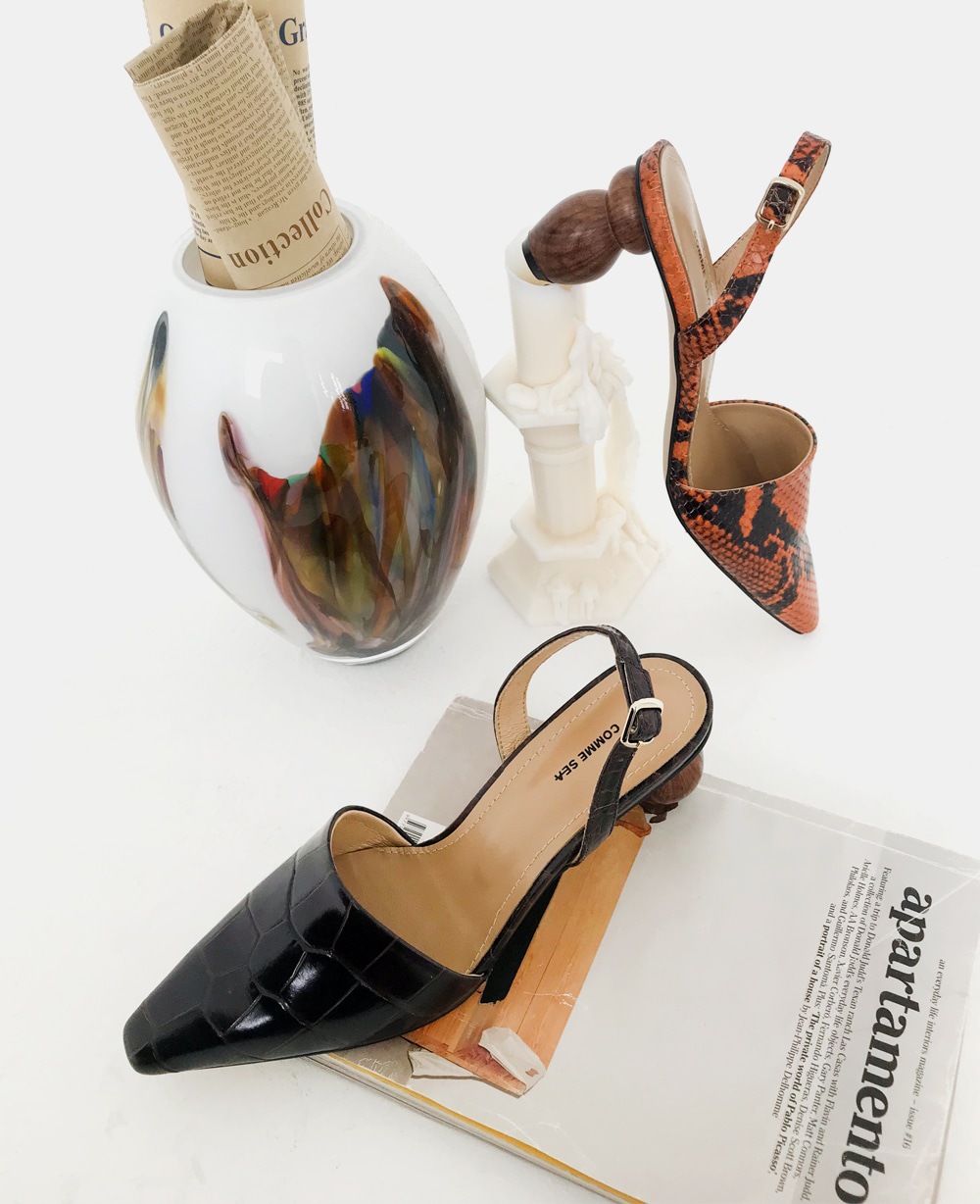 [Limited edition] Objet Slingbacks - Orange Snake / Brown Piton