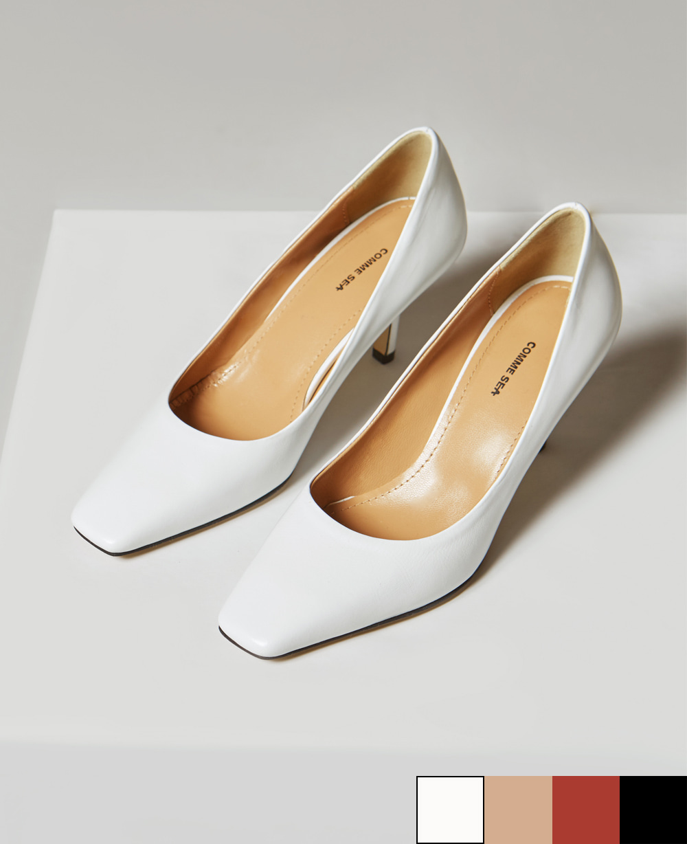 Classic Square Toe Pumps - WHITE / BLACK / BRICK RED / BEIGE